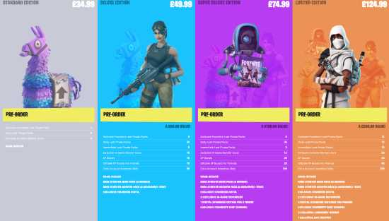 Fortnite packs précommande